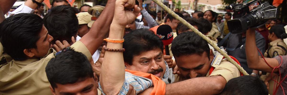 Tension at Gandhi Bhavan as cops arrest BJP leaders