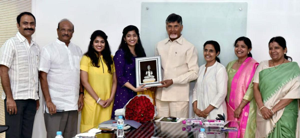 Chandrababu pats Maganti Jahnavi who set Guinness World Record