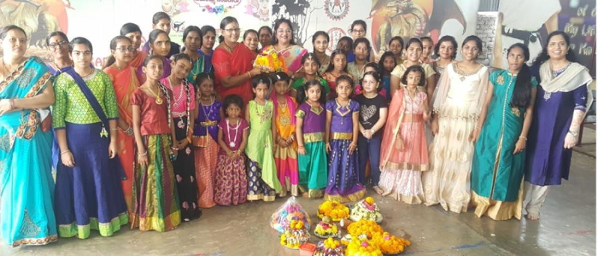 Students celebrate Bathukamma