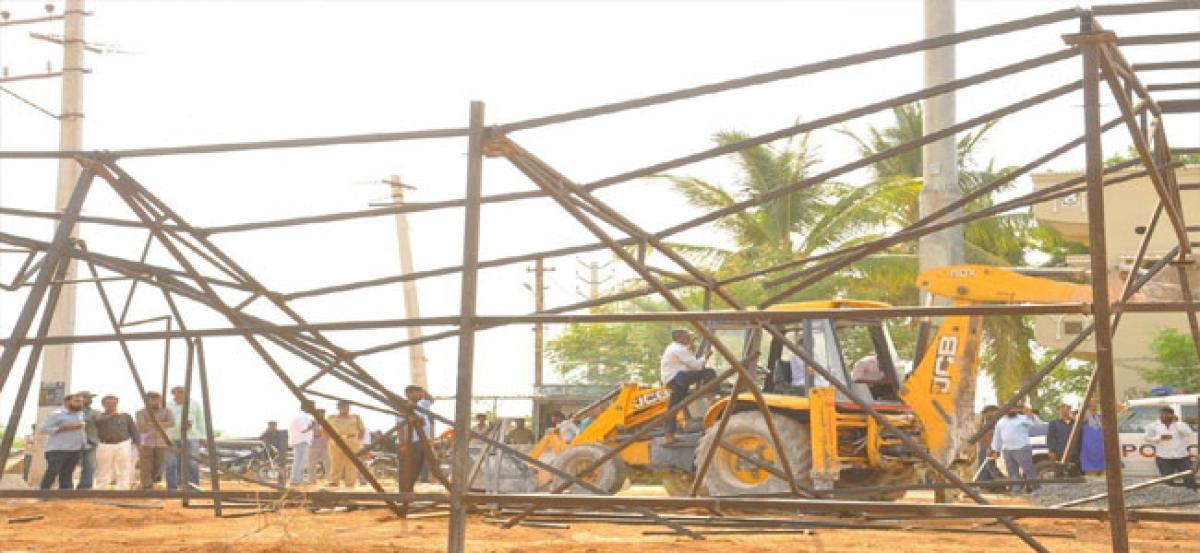 Civic staff raze down shed