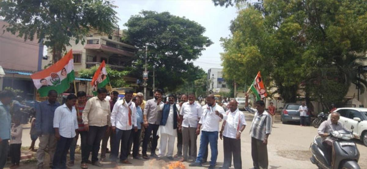 Uppal Congress workers stage protest against KCR