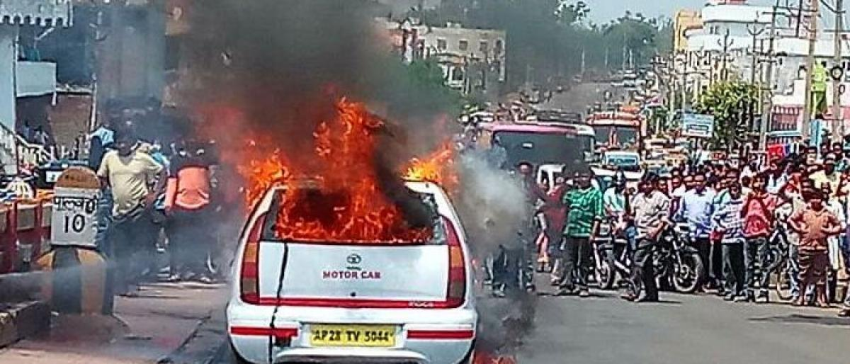 Car catches fire due to short circuit