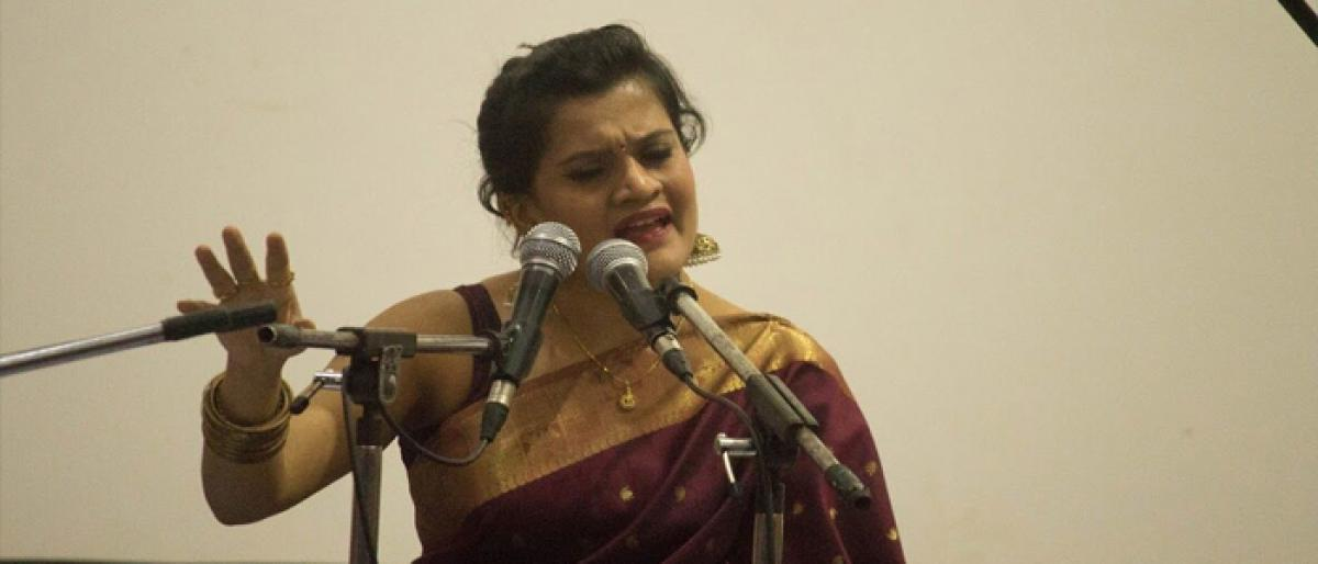 Grammy singer Chaitra performs in Hyderabad