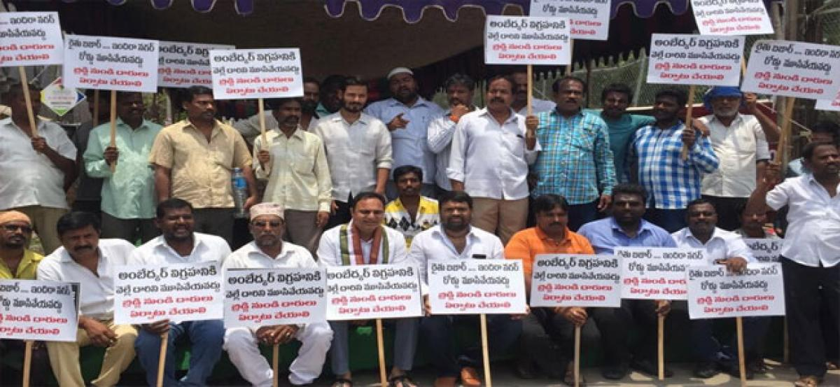 Locals stage dharna against culvert construction