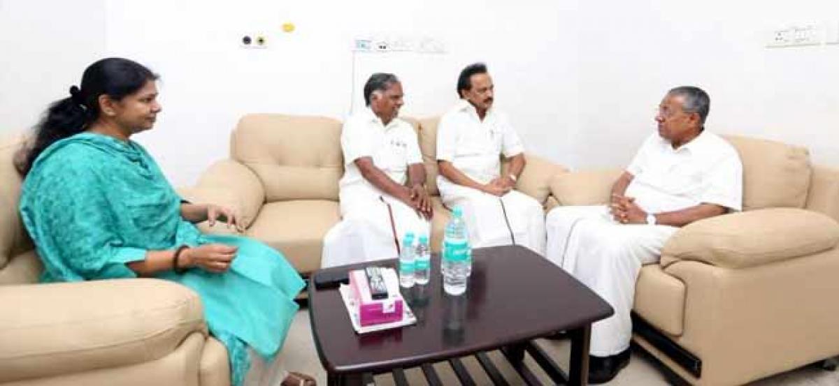 Kalaignar fighter by birth itself: Kerala CM meets Karunanidhi in hospital