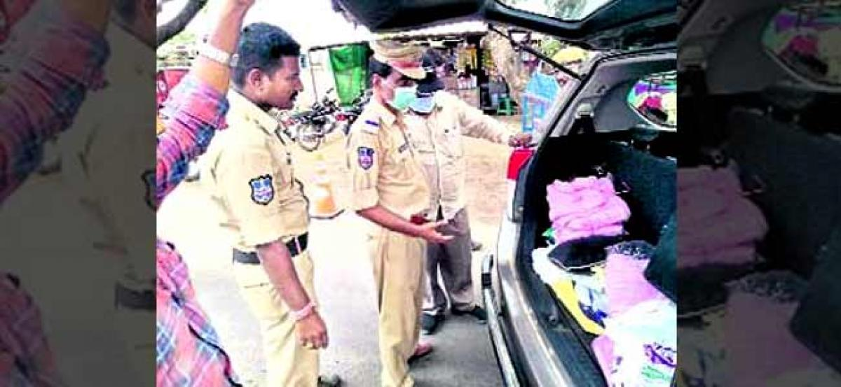 Dozens of T-shirts belonging to TRS party seized in Warangal