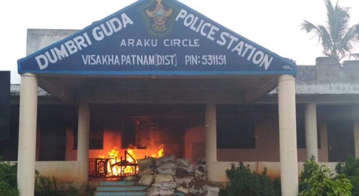Police station set up fire at agency