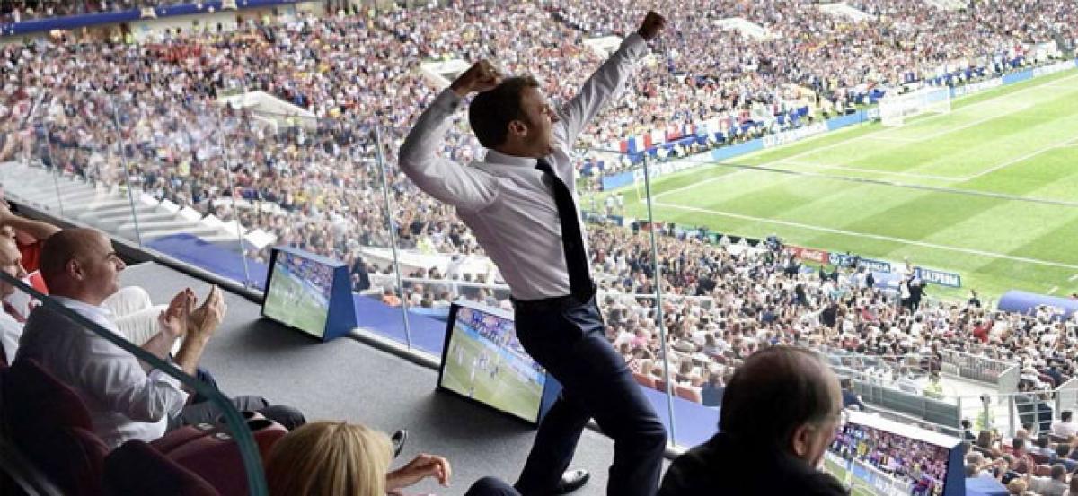 World Cup 2018: Emmanuel Macron explodes with joy as France lift trophy