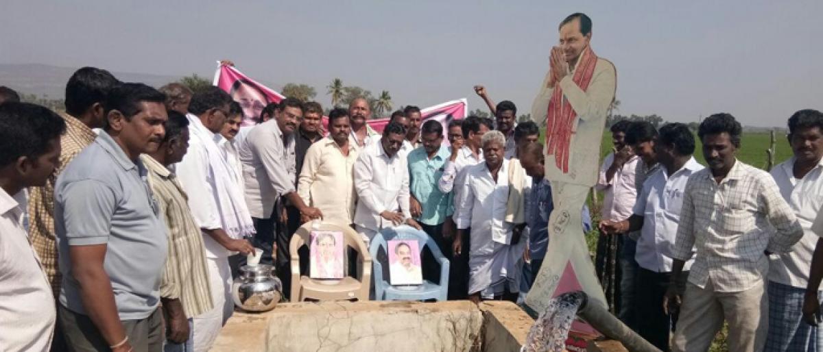 Farmers anoint KCR portrait with milk