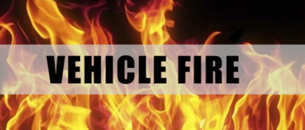 DCM Vehicle burnt accidentally in Ghatkesar PS limits