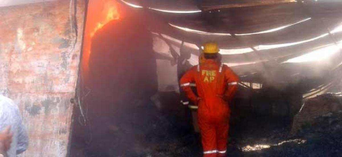 Fire engulfs Chappal Manufacturing unit in Hyderabad