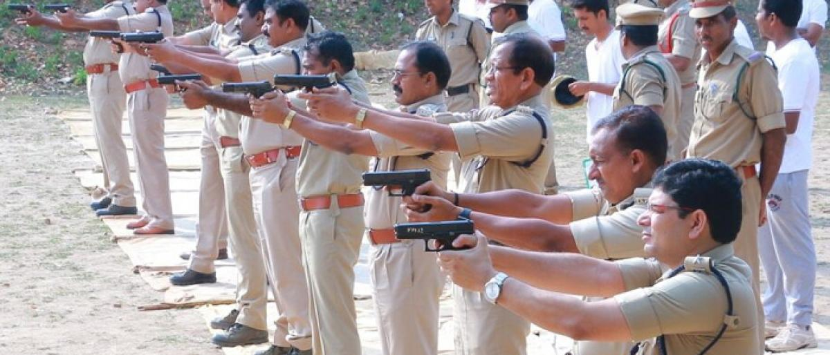 Firing practice held for police personnel in Khammam