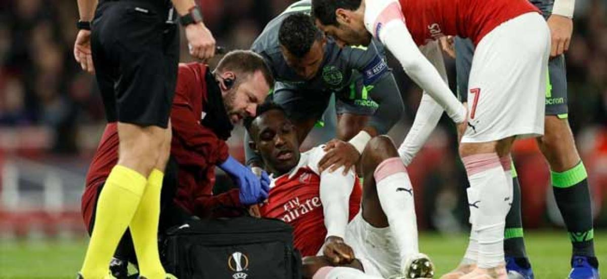 Europa League: Arsenal striker Danny Welbeck taken to hospital with serious injury