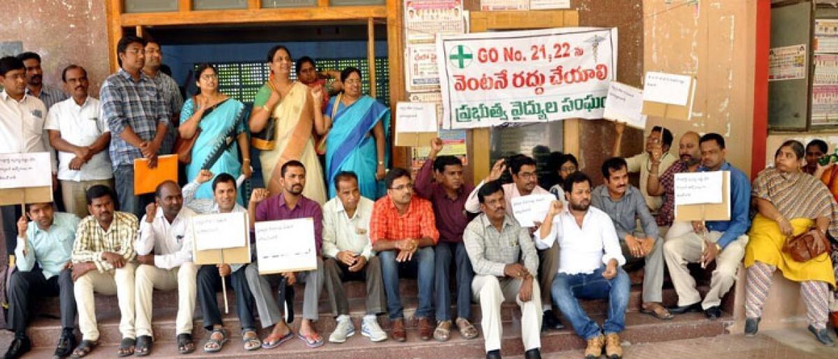 Govt doctors stage protest demonstration