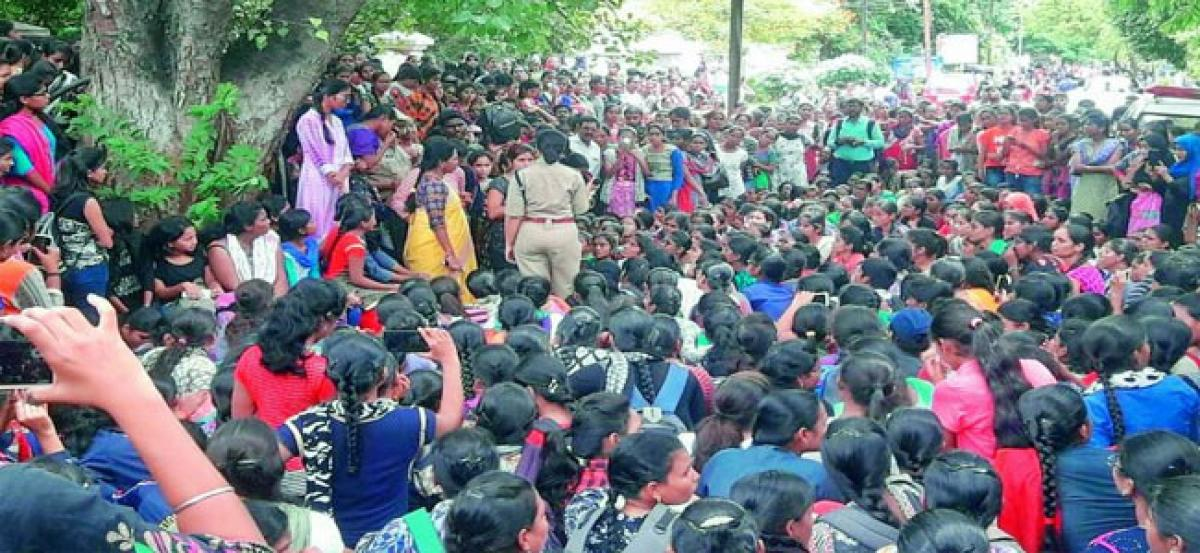 Women's College students protest fee hike