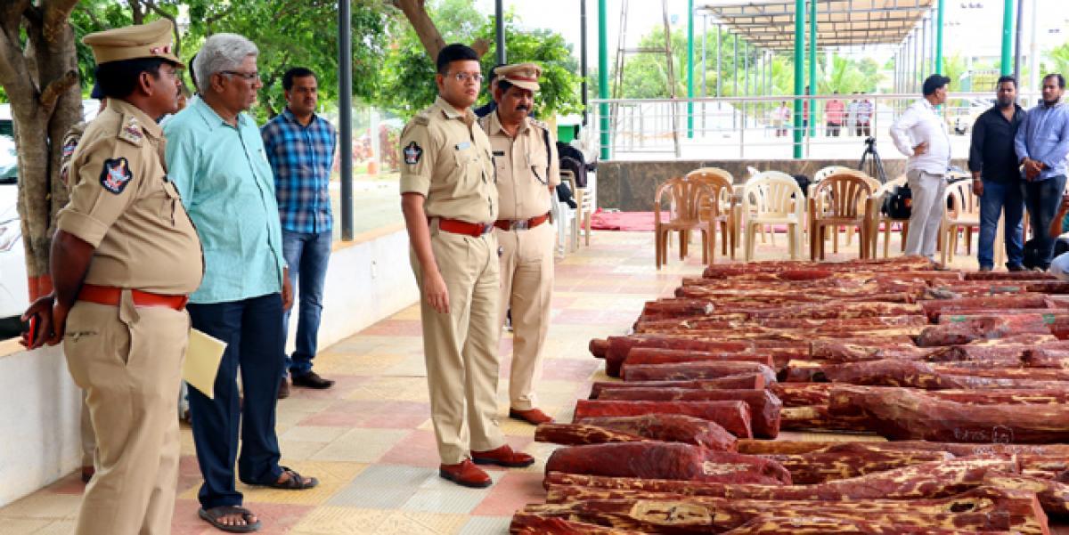 Tirupati police seize 98 red sanders logs