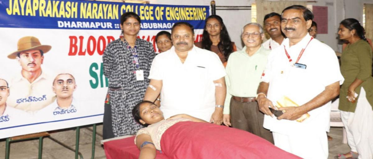 JPNCE students donate blood in Mahbubnagar