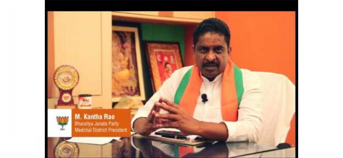 Medchal dist BJP chief participates in 'Palle Nidra'