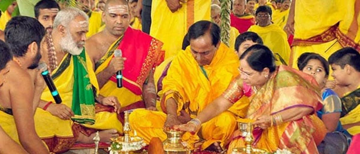 KCR to perform Raja Shyamala Chandi Homam today at Erravalli