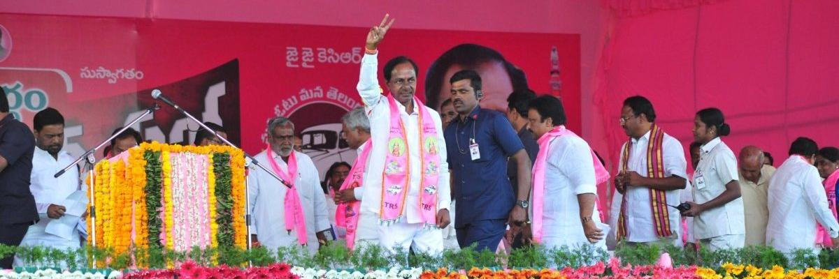 KCR says the Congress has brought Chandrababu Naidu to the fore unable to fight with the TRS on its own. Do you agree?