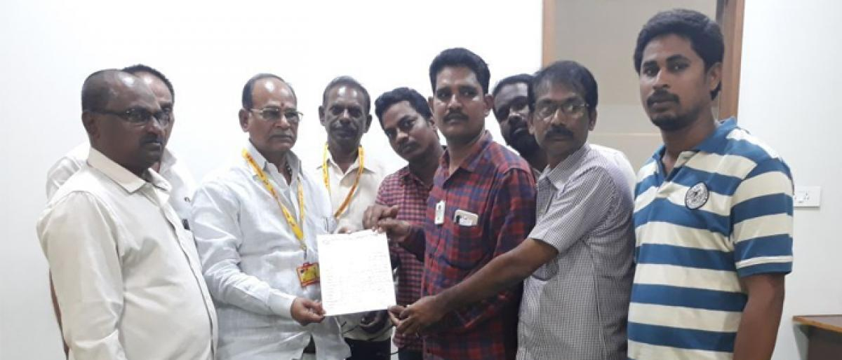 KGGH outsourcing employees demand payment of salaries in Kakinada