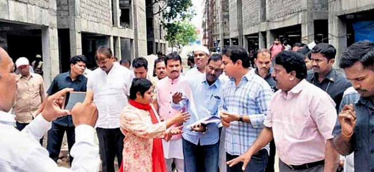 KTR inspects double bedroom housing works in Hyderabad