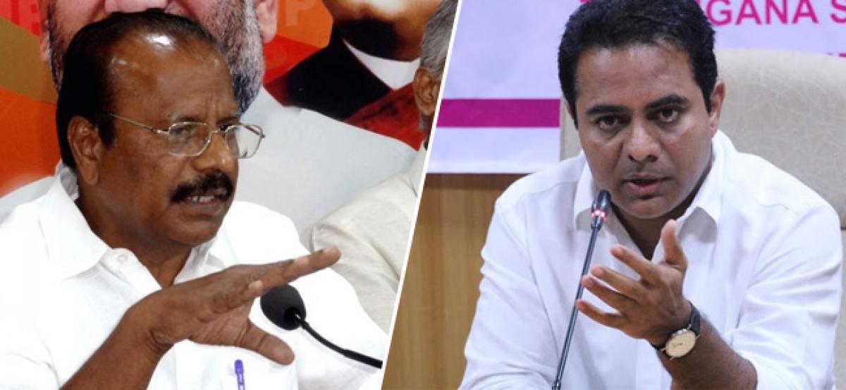 BJP accuses KTR of blackmailing media