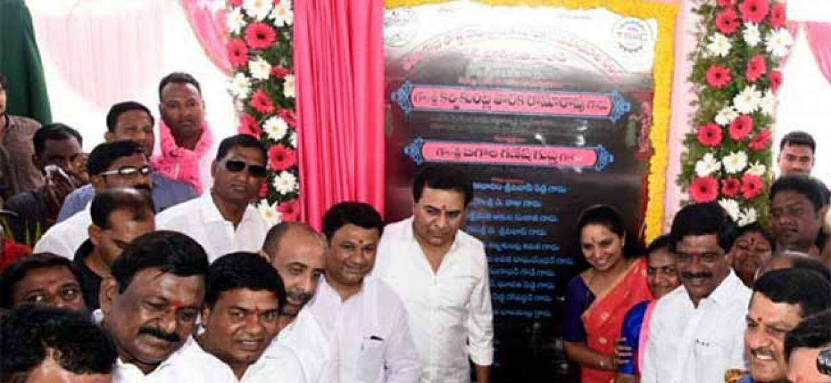 KTR lays foundation stone for IT Hub in Nizamabad