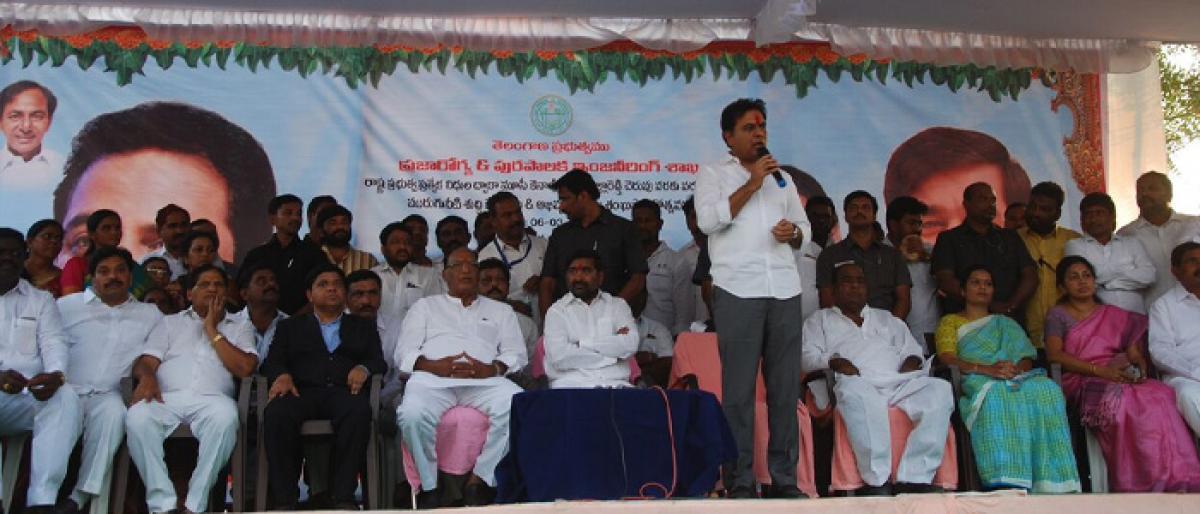 KTR lays foundation stone for development works