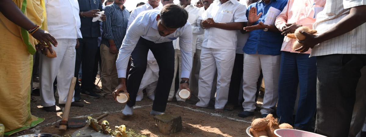 Collector lays stone for developmental works