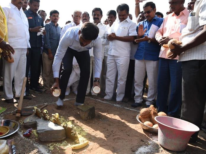 Collector Ch Harikiran lays stone for developmental works