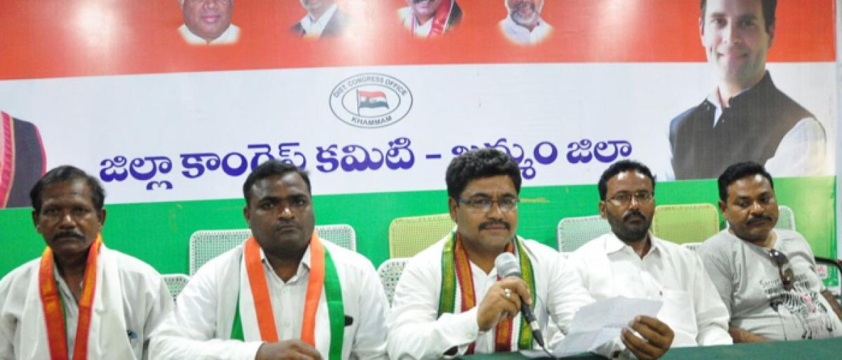 Khammam Congress leaders demands basic facilities in Gurukul Residential Schools