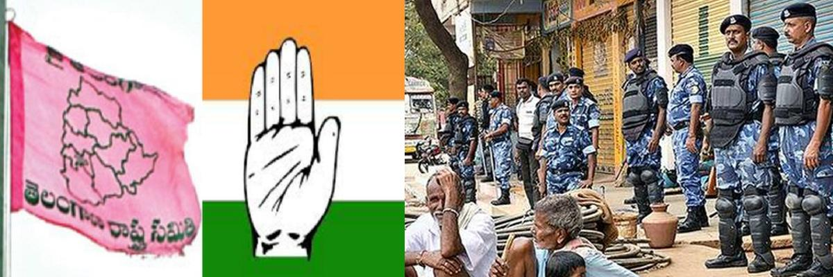 High tension created in Nagulapally of Kodangal when TRS and Congress activists attack each other