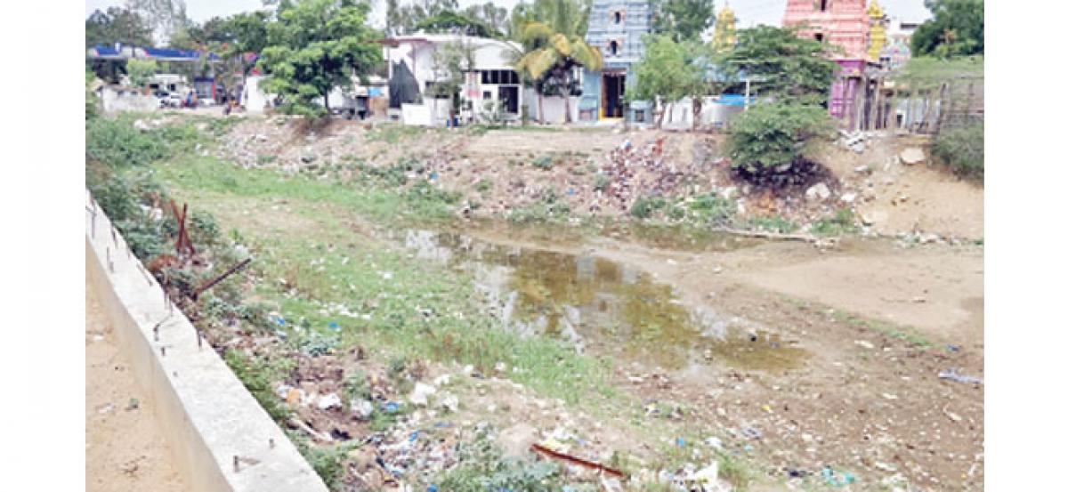 Pond turns into dump yard, emanates foul smell