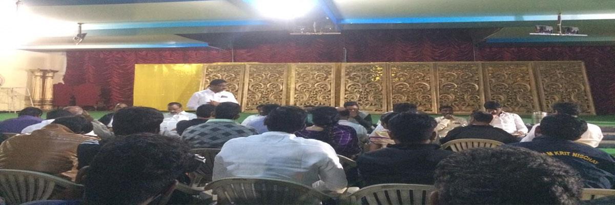 BJP activists meet held at Thumu Padma Rao Garden in Moosapet