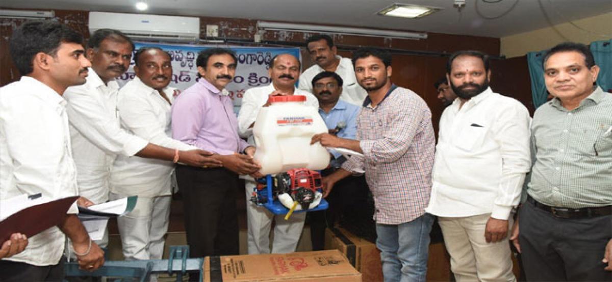 MLA distributes farm tools to ryots under PMKSY scheme