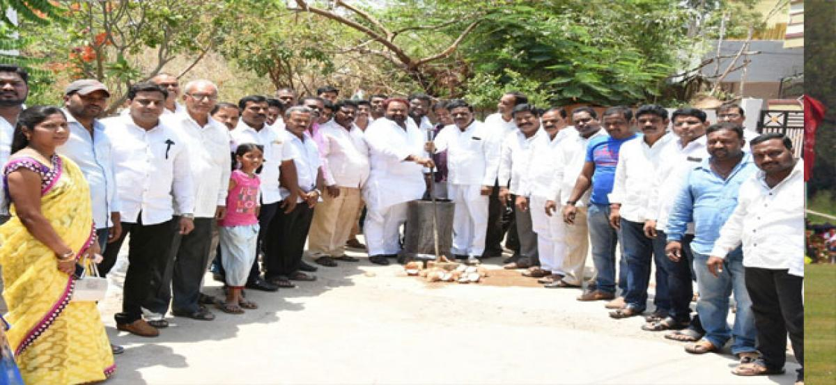 MLA lays foundation stone for works