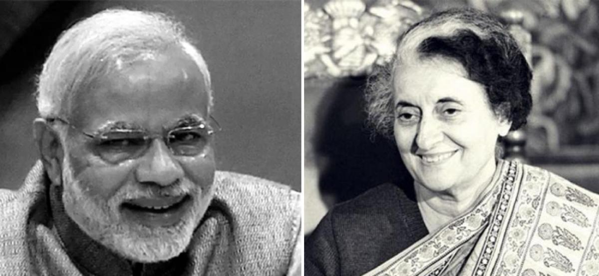 Narendra Modi and Indira Gandhi are alike. They share common personality traits of shaping themselves into a messiah