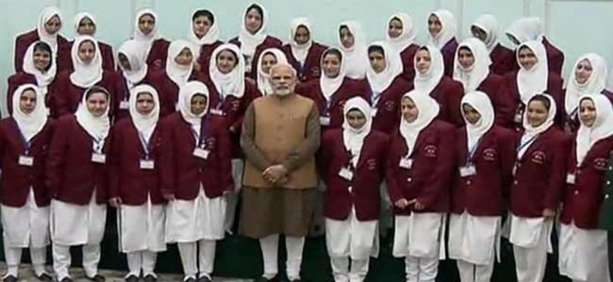 PM Modi meets students from Jammu and Kashmir