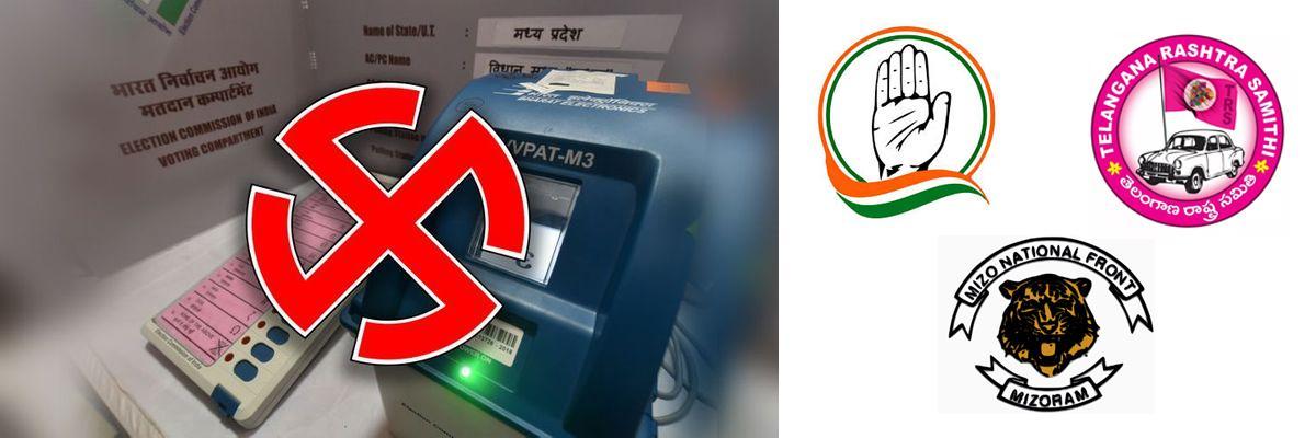 Congress leads in Chhattisgarh, TRS in Telangana, MNF in Mizoram
