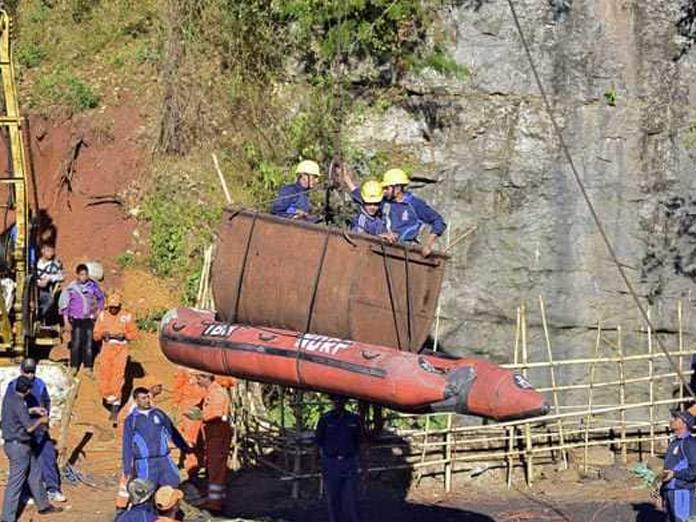 Navy vehicle to determine visibility stuck at bottom of Meghalaya mine