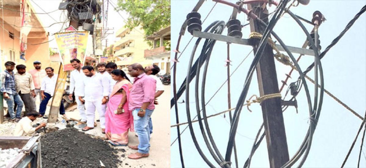 Bent electric pole replaced at BJR Nagar