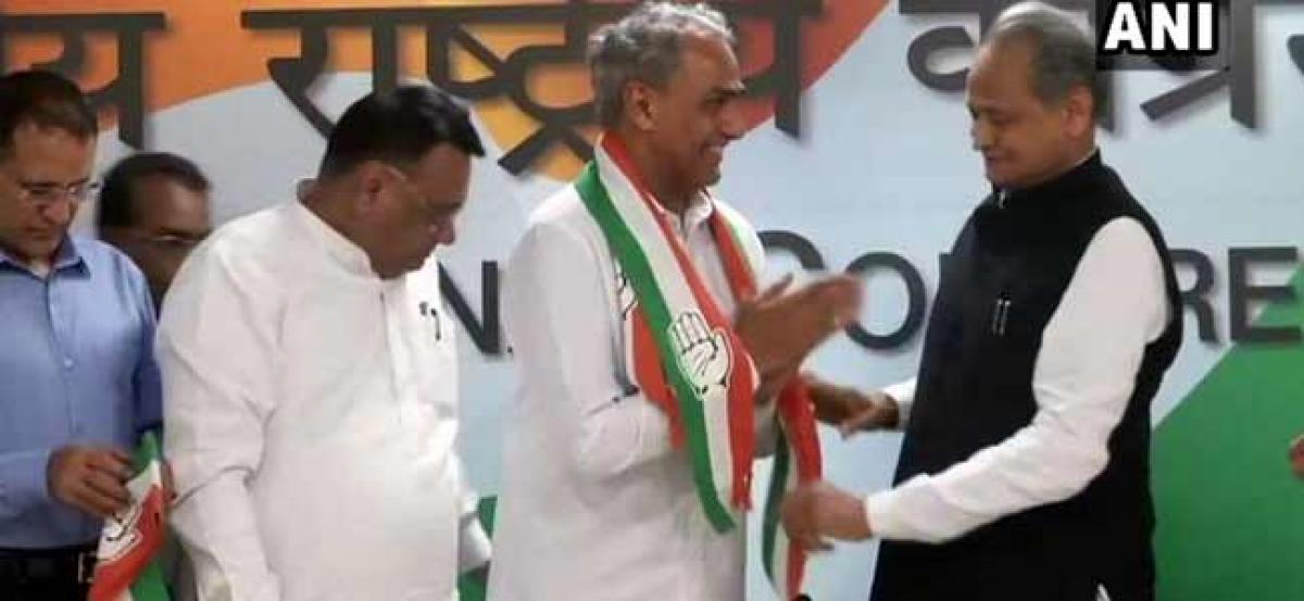 BJP Dausa MP Meena, Nagaur MLA join Congress