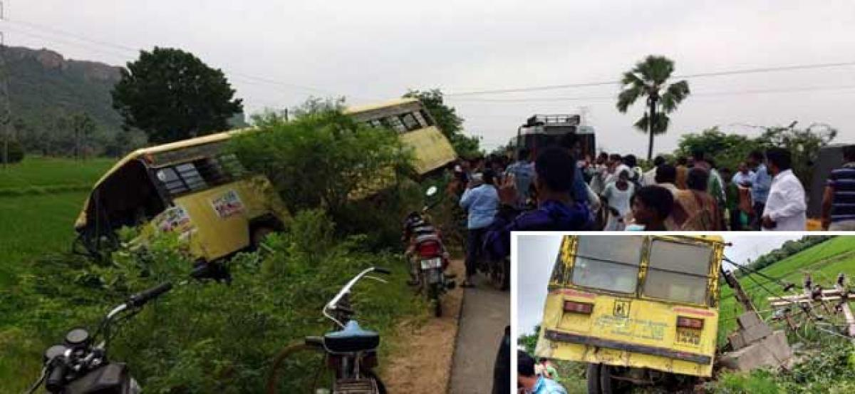 Miraculous escape for 50 school children as bus hits transformer in Peddapalli