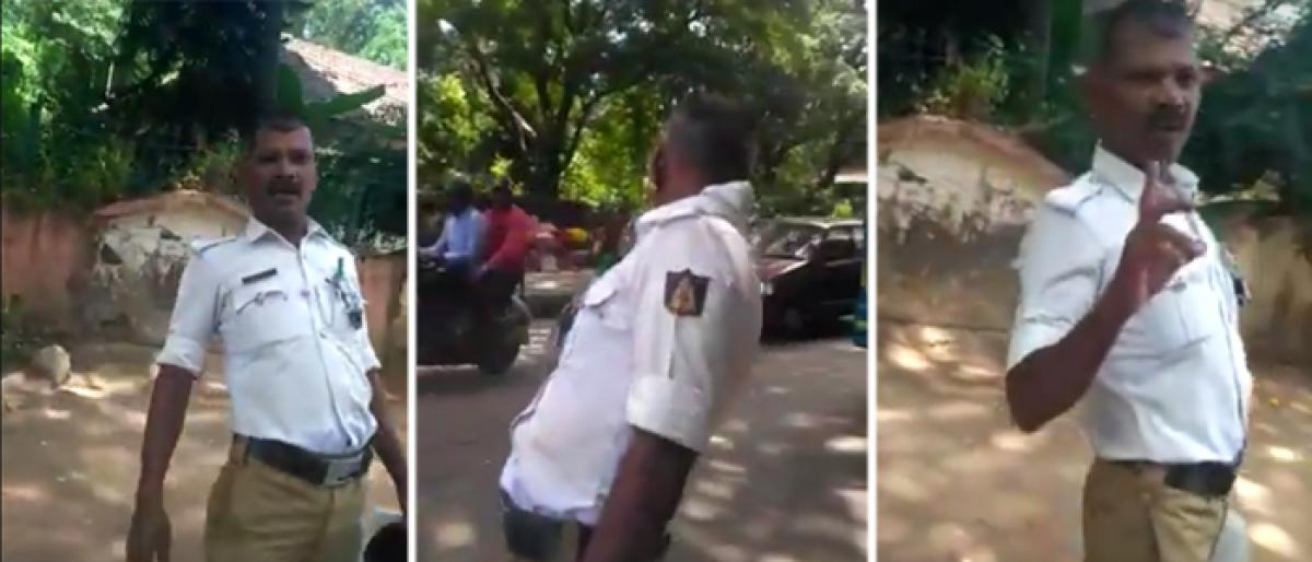 Mangalore: Video clip of drunk traffic cop goes viral