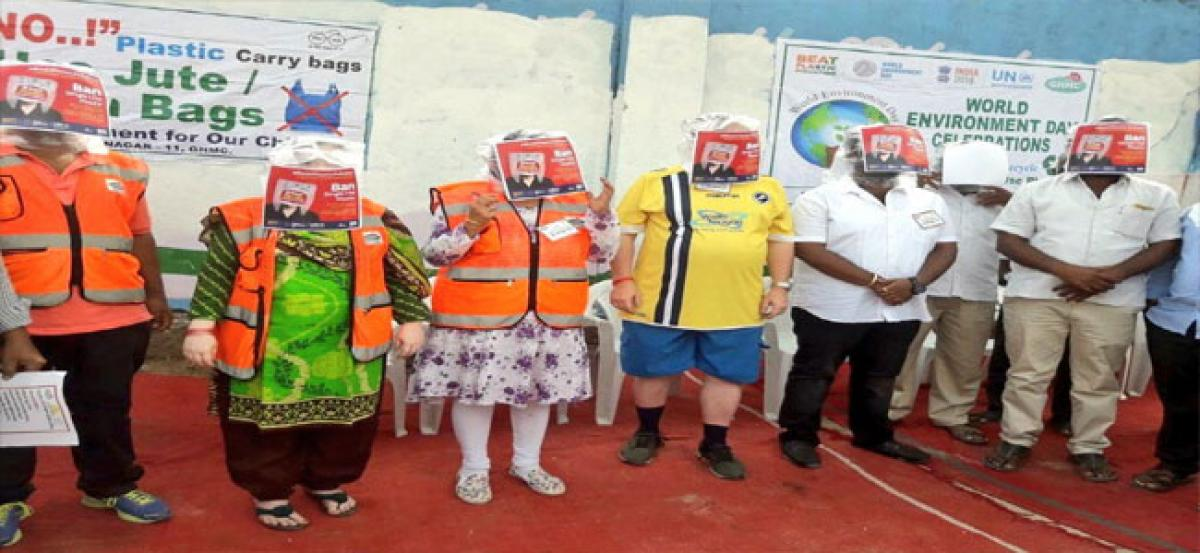 Civic officials stage novel drive against plastic use