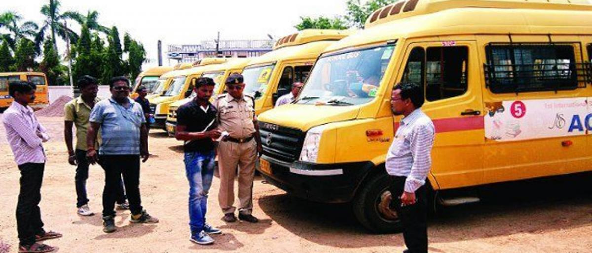RTA officials racing against time to conduct tests on school buses in Mahbubnagar district