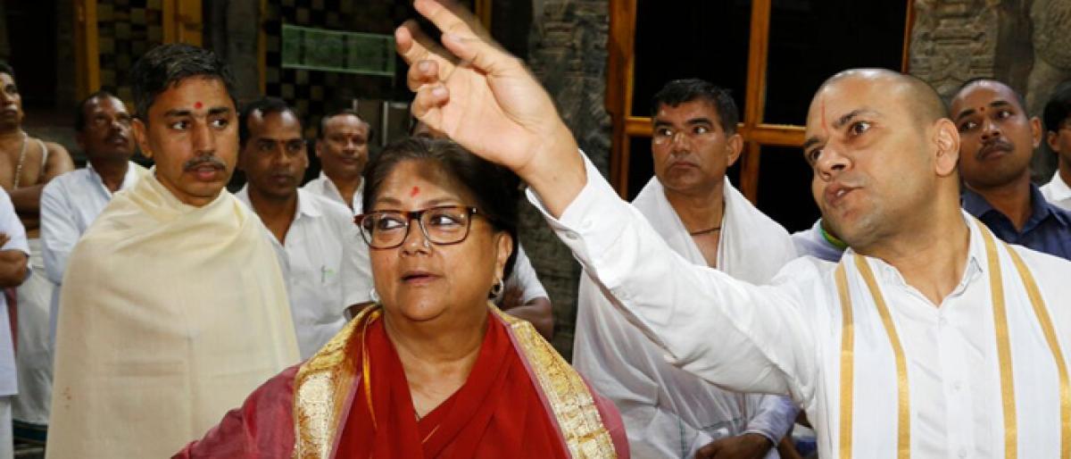 Vasundhara Raje offers prayers at Tirumala