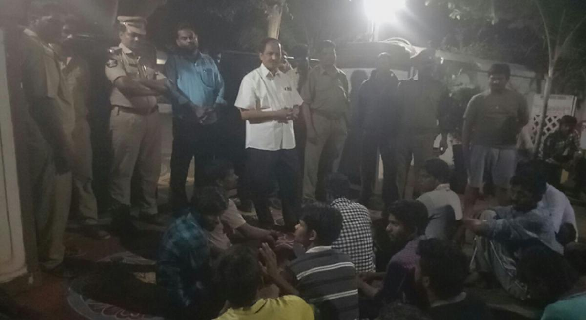 Andhra University students stage lightning dharna