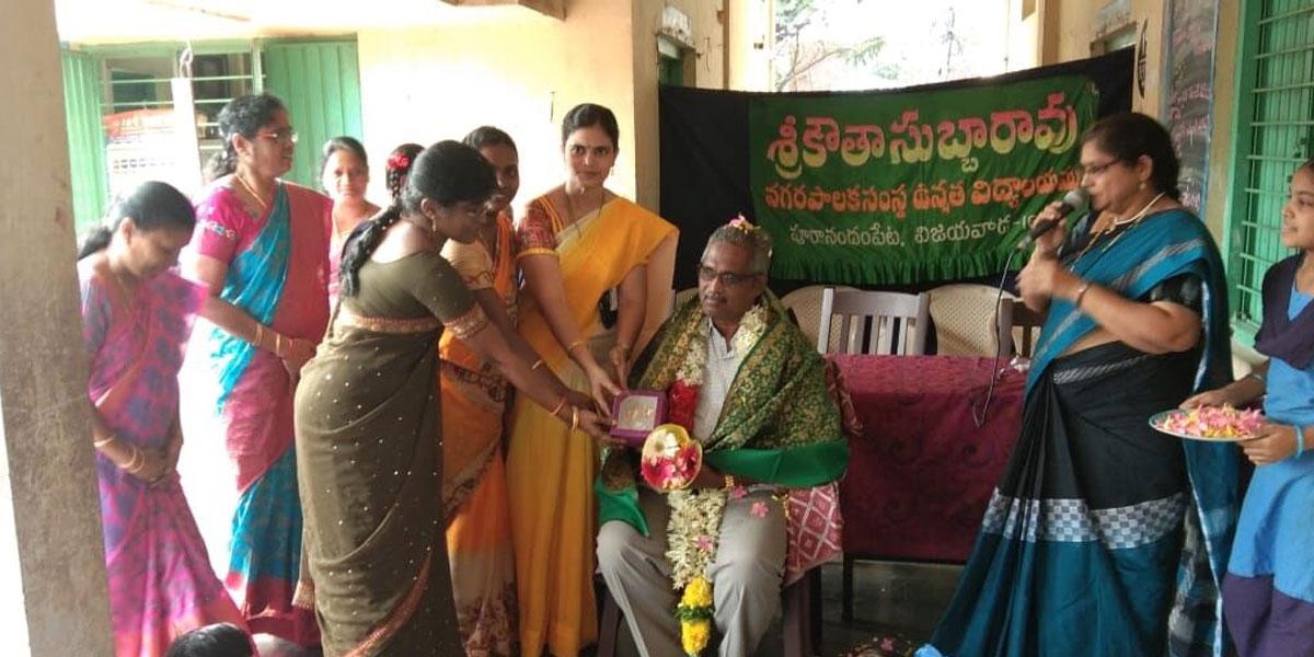 Retiring Deputy Educational Officer K Durga Prasad felicitated